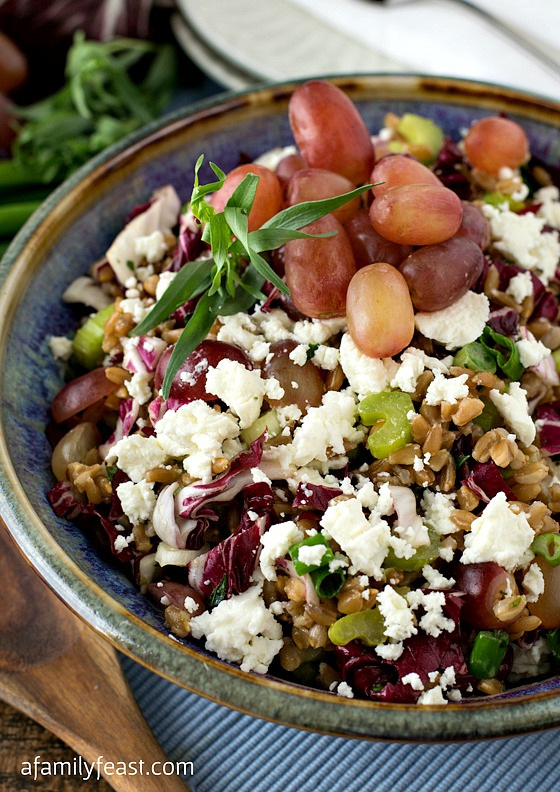 Farro Salad with Grapes, Goat Cheese and Tarragon Vinaigrette - A Family Feast