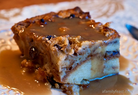 Cinnamon Roll Bread Pudding with Bourbon Sauce - An incredible bread pudding with an even more incredible bourbon sauce on top!  WOW this is fantastic!