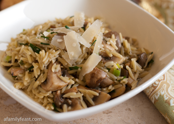 Orzo with Mushrooms, Scallions and Parmesan - A delicious pasta dish made with orzo and mushrooms in a light sauce flavored with chicken stock, marjoram,scallions, and parmesan cheese.