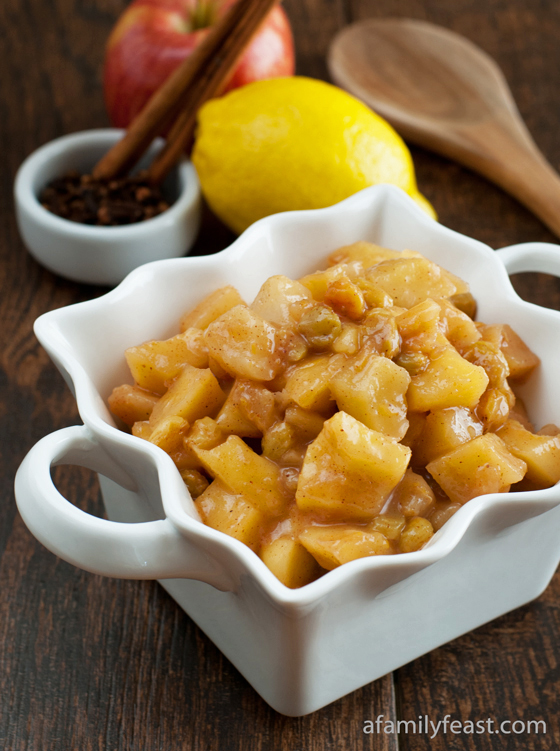A delicious Apple Pear Compote made with apples, pears, golden raisins, lemon, sugar, spices and Calvados liquor.