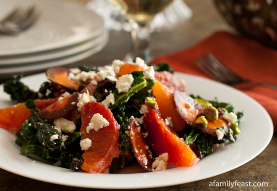 Tuscan Kale Salad with Oranges, Currants and Feta - A fantastic fresh and citrusy salad!