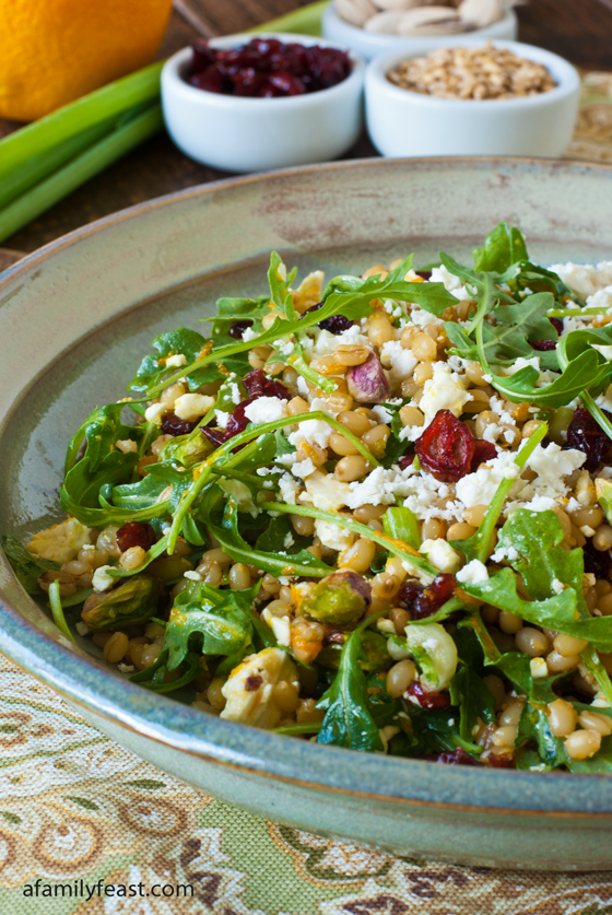 A light and healthy recipe for Wheatberry Salad with Cranberries, Feta and Orange Citronette