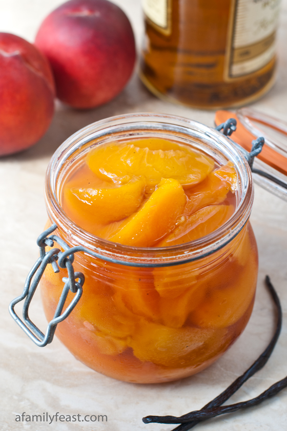 Bourbon Poached Peaches - A Family Feast