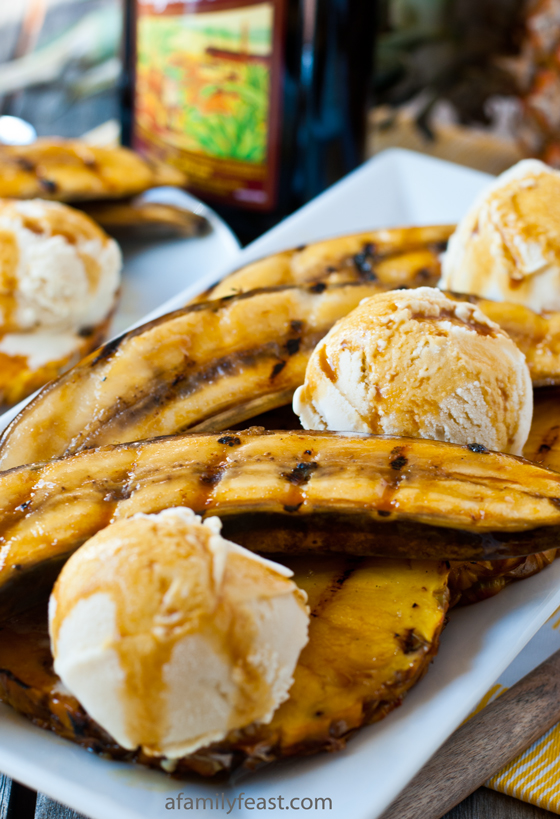 A quick, easy and impressive summertime dessert - Grilled Bananas and Pineapple with Rum-Molasses Glaze