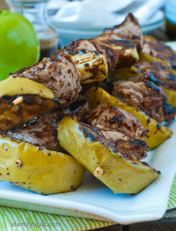 A recipe for a fabulous grilled meal of Pork and Apple Skewers with Orange Balsamic Glaze.