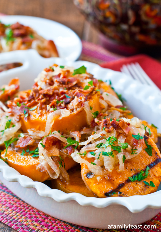 Grilled Sweet Potato Salad with Sweet and Sour Bacon Dressing - a great summertime side dish!