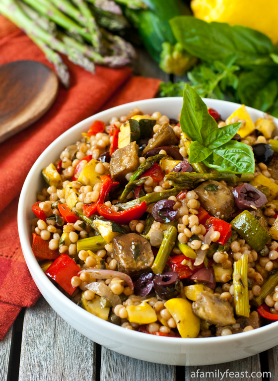 A fabulous way to enjoy fresh summer vegetables: Israeli Couscous Salad with Mediterranean Roasted Vegetables