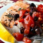 Roasted Salmon with Tomato-Olive Relish