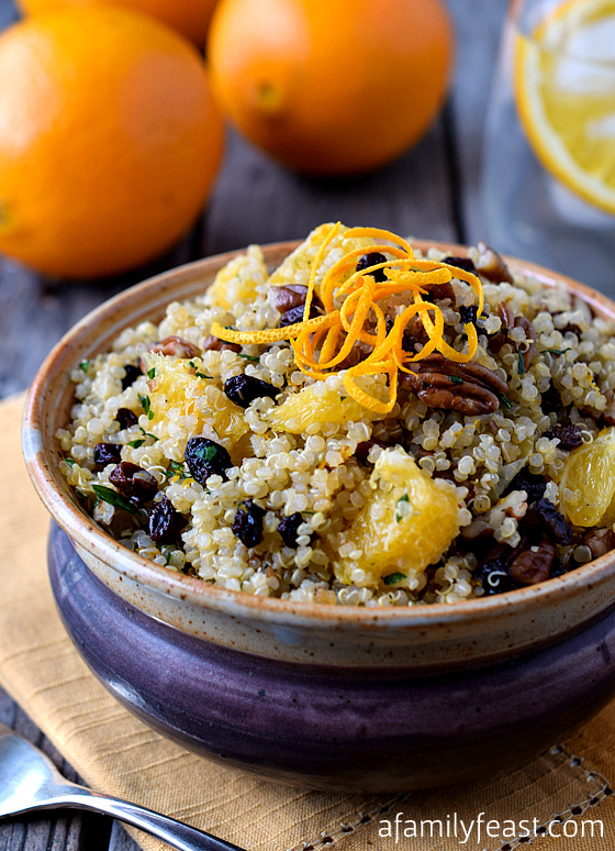 Quinoa Salad with Pecans, Orange and Currants - a light, healthy and super delicious salad! Great as a meal or as a side dish to grilled chicken or fish.