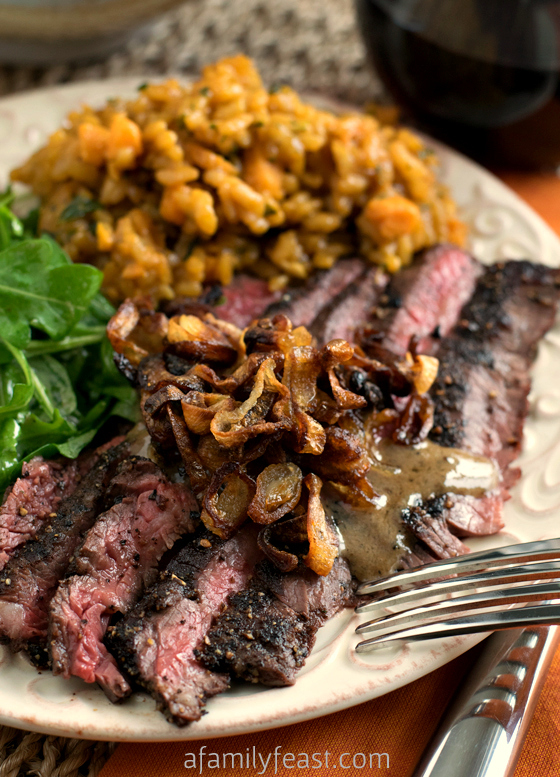 Steak au Poivre with Crispy Shallots - A Family Feast