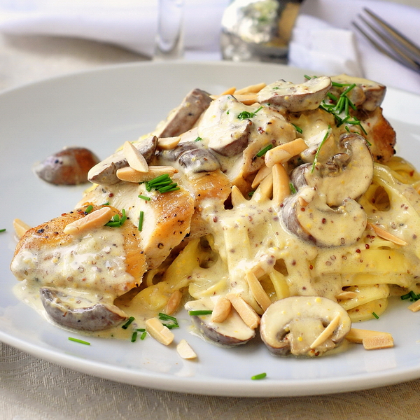Dijon Chicken Linguine with Crimini Mushrooms and Toasted Almonds - 25-Plus Delicious Dijon Recipes