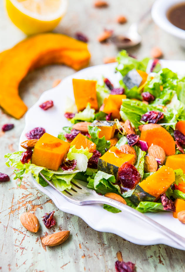 Roasted Winter Squash, Cranberry and Almond Salad with Lemon Dijon Balsamic Vinaigrette - 25-Plus Delicious Dijon Recipes