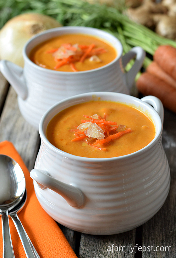 A fantastic carrot and ginger soup recipe from The New England Soup Factory Cookbook. Amazing!