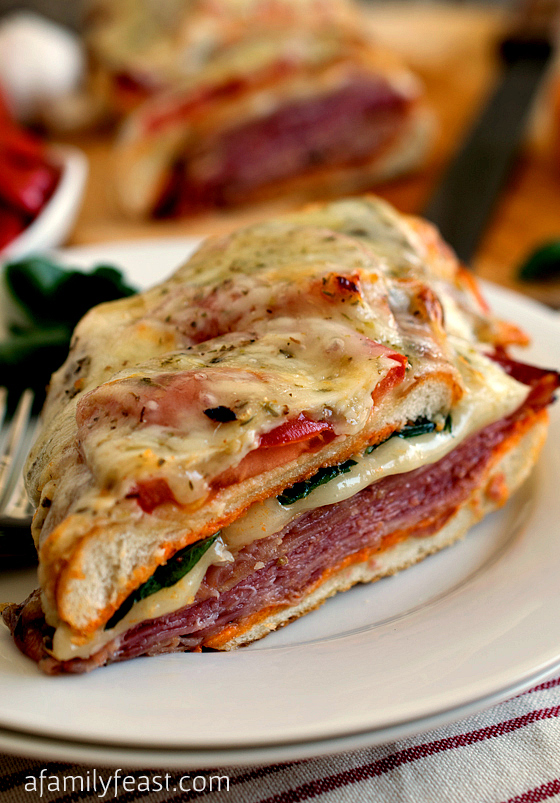 Loaded Italian Sub with Roasted Red Pepper Aioli - This incredible sandwich is part Italian Sub, part Panini and part pizza! So delicious!