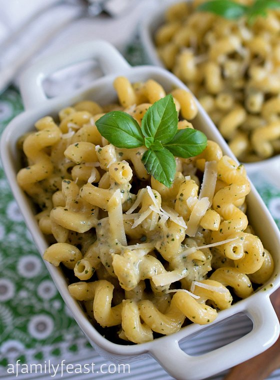 Pasta with Pesto Cream Sauce - A Family Feast