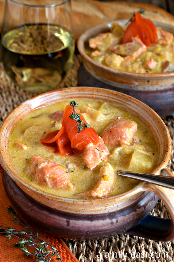Salmon and Parsnip Chowder - This recipe is fantastic! Fresh salmon is perfectly complemented by the parsnips in this dish!