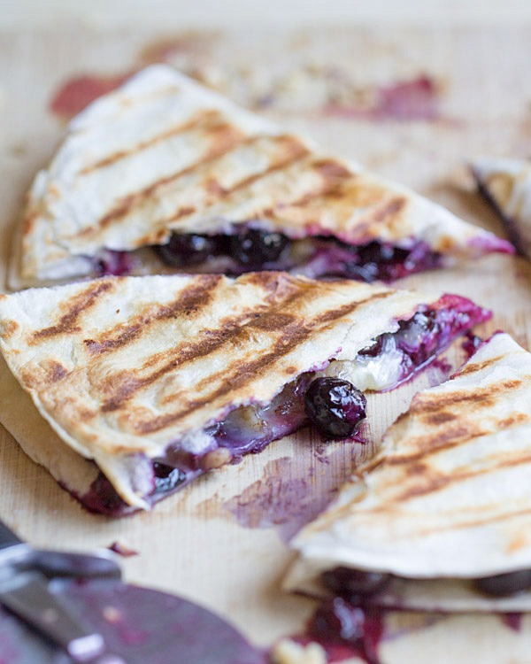 Blueberry Brie Walnut Quesadilla - 25+ Best Blueberry Recipes