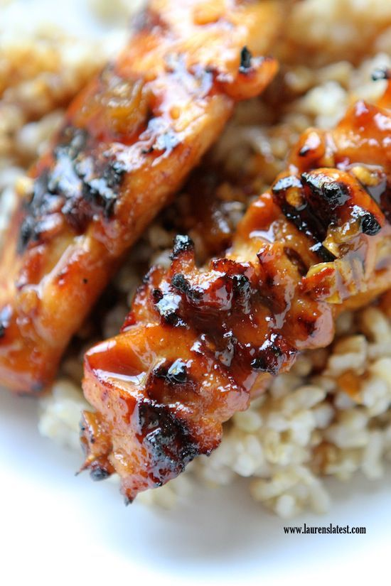 Grilled Asian Sweet and Spicy Chicken Skewers over Brown Rice - 30-Plus Great Grilling Recipes