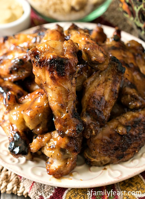 Honey Mustard Soy Glazed Chicken Wings - Some of the best grilled chicken wings you'll ever eat! The sauce on these wings is fantastic!