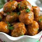 Turkey Cocktail Meatballs with Apple Mustard Glaze