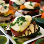Grilled Italian Vegetable Napoleons with Basil Oil