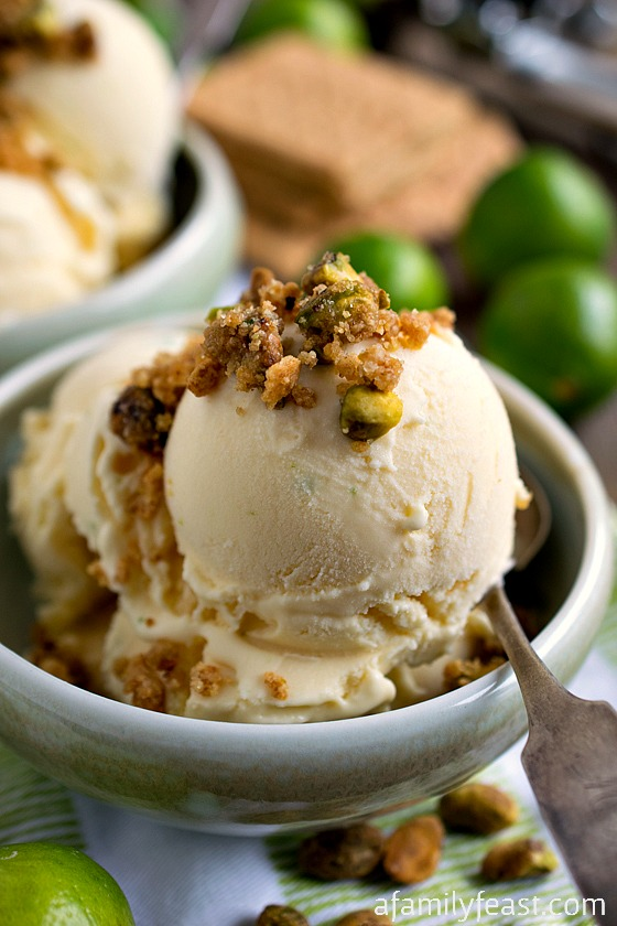 Key Lime Ice Cream with Graham Cracker Pistachio Crumb Topping - A Family Feast