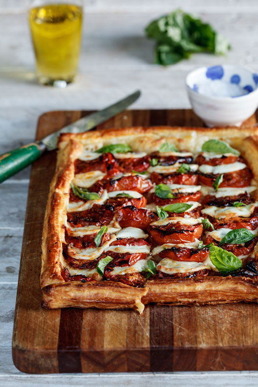 Caprese Tart with Roasted Tomatoes - 30+ Recipes for your Garden Tomatoes