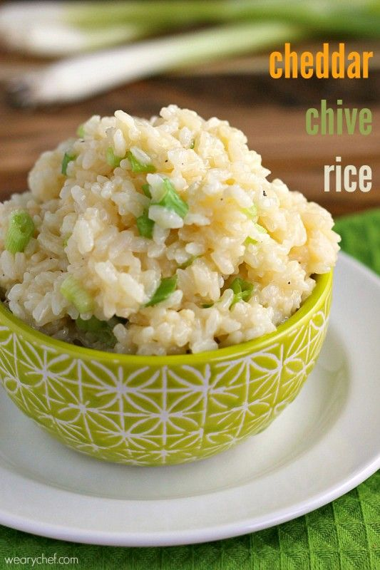 Cheddar Chive Rice - 30+ Remarkable Rice Recipes
