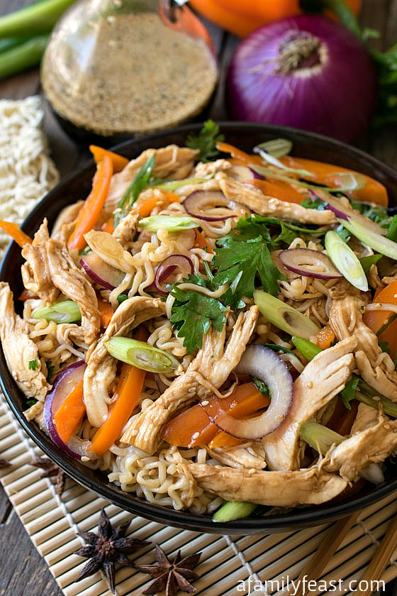 Asian Noodle Salad with Chicken - A Family Feast