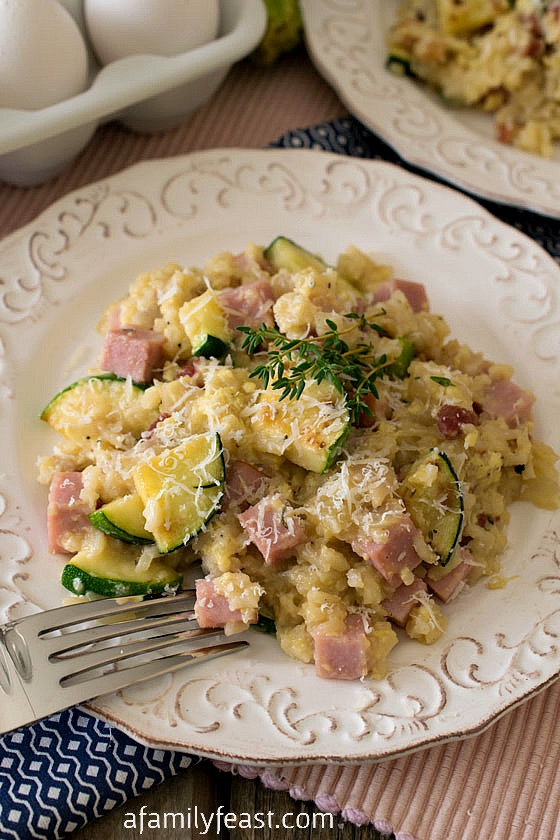 Zucchini, Ham and Rice Skillet - A Family Feast