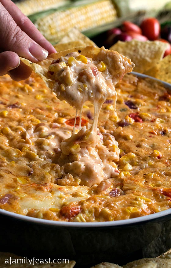 Southwestern Cheesy Corn Dip - A Family Feast