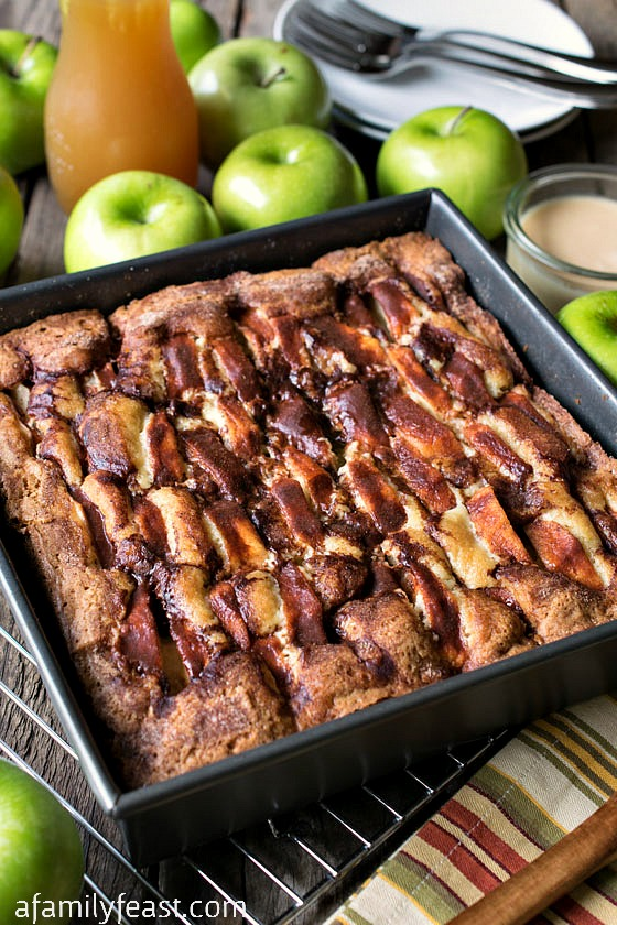 New England Apple Cider Cake - A simple, moist and delicious cake with a decadent, creamy apple cider glaze.  A perfect fall dessert!