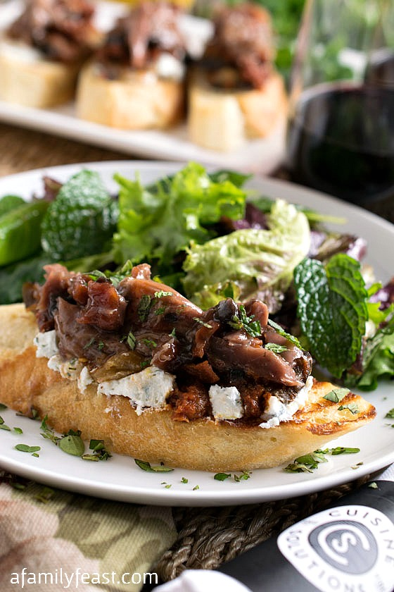 Lamb and Eggplant Crostini with a delicious side salad of greens and fresh mint. Perfectly prepared thanks to Cuisine Solutions! #sousvidecuisine