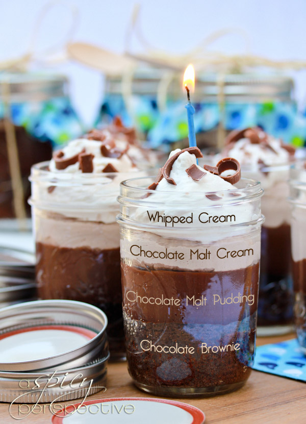 Chocolate Malt Brownie Parfaits in A Jar - 30+ Recipes for Malted Milk Lovers