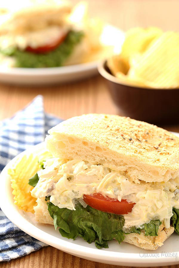 This Chicken Salad Breadstick Sandwiches recipe from Chocolate Moosey is just one of over 20 delicious chicken salad recipes on A Family Feast