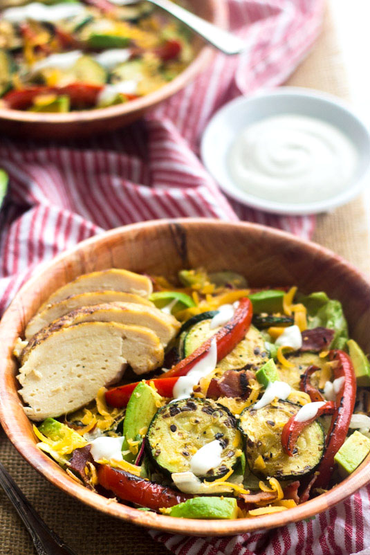 This Fajita Chicken Salad from Food Faith Fitness is just one of over 20 delicious chicken salad recipes on A Family Feast