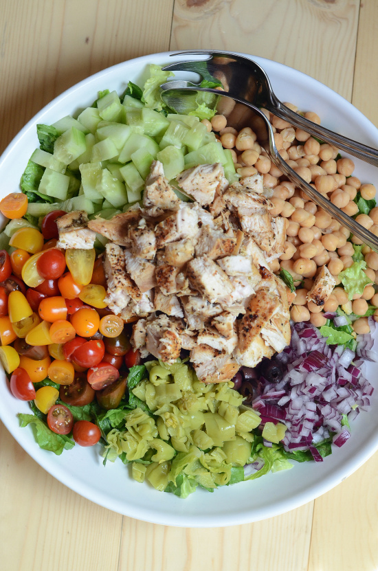 This Mediterranean Chicken Chopped Salad from Valerie's Kitchen is just one of over 20 delicious chicken salad recipes on A Family Feast