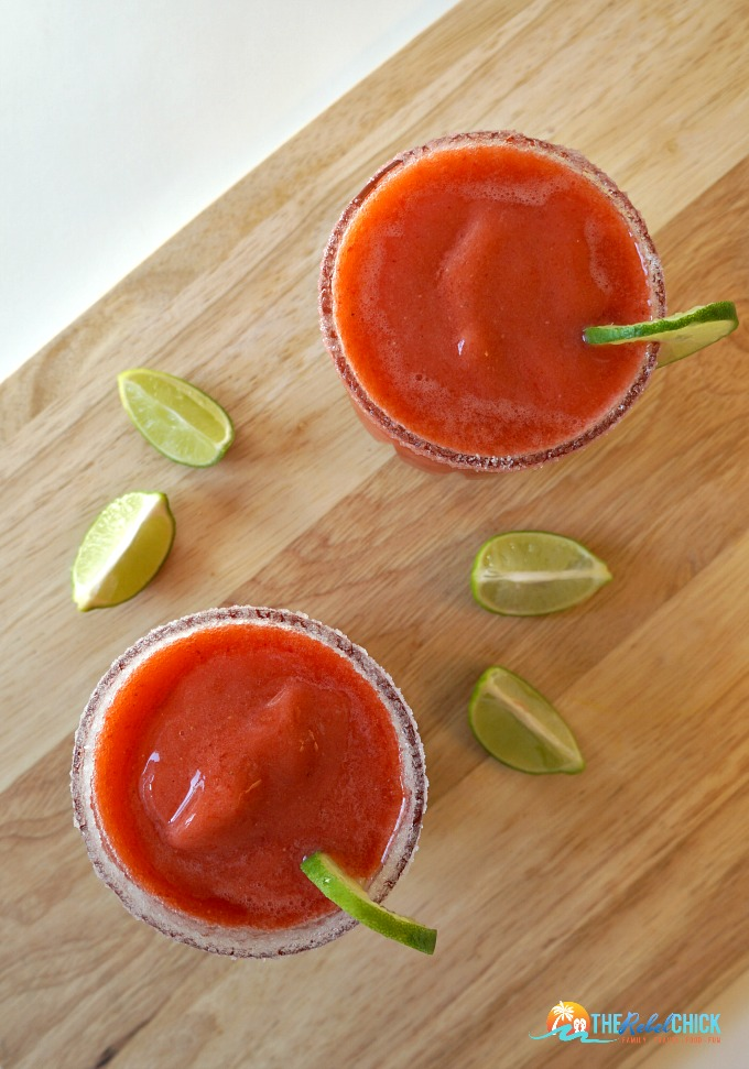 This key lime strawberry margarita is one of over 30 refreshing margarita recipes in a collection on afamilyfeast.com