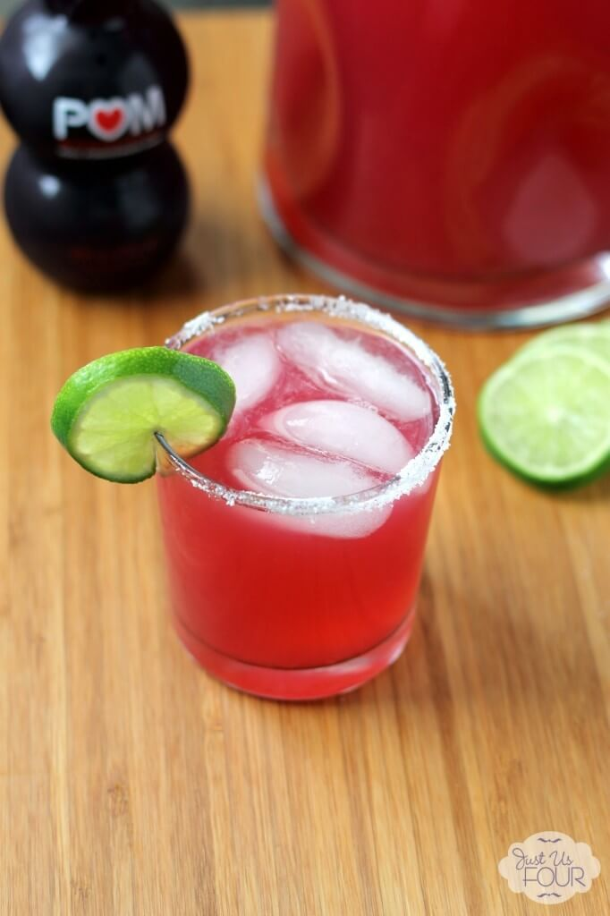 This 3-ingredient pomegranate margarita is one of over 30 refreshing margarita recipes in a collection on afamilyfeast.com