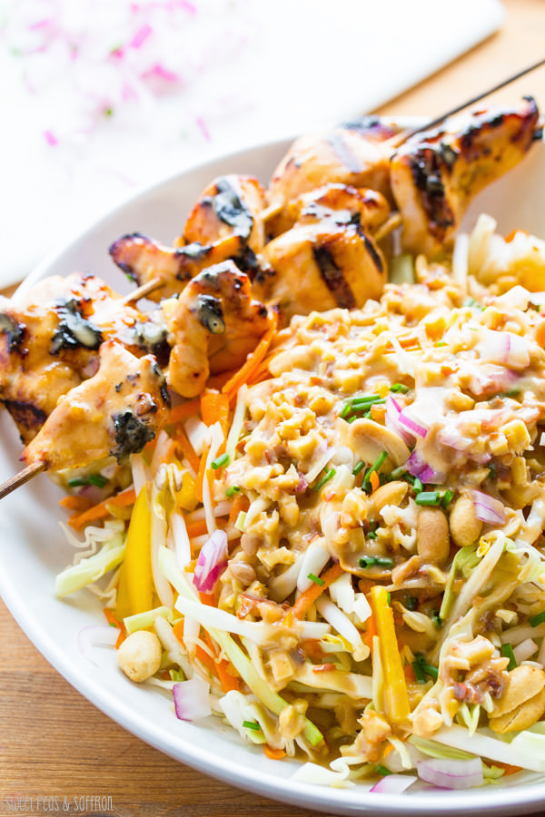 This Chicken Satay Salad from Sweet Peas & Saffron is just one of over 20 delicious chicken salad recipes on A Family Feast
