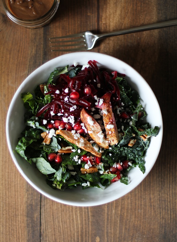 This Chili Chicken Kale Salad from The Roasted Root is just one of over 20 delicious chicken salad recipes on A Family Feast