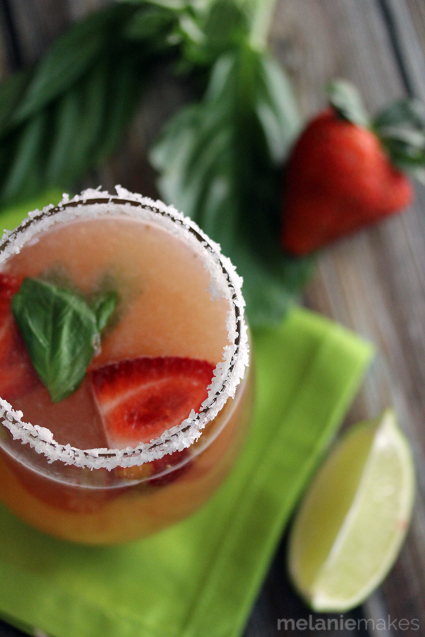 This strawberry basil margarita is one of over 30 refreshing margarita recipes in a collection on afamilyfeast.com