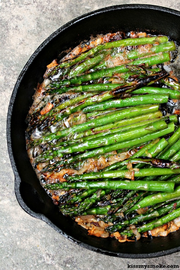 Grilled Asparagus with Brown Butter and Shallots - One of over 30 Amazing Asparagus Recipes to give you cooking inspiration this Spring! See the collection on A Family Feast