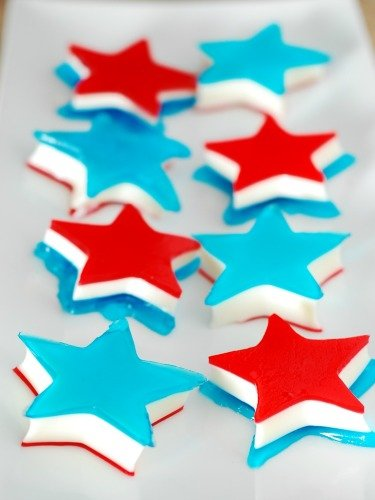 Red White and Blue Layered Jello Stars - One of over 25 patriotic holiday recipes to help you celebrate Memorial Day, 4th of July, Flag Day, or any day!