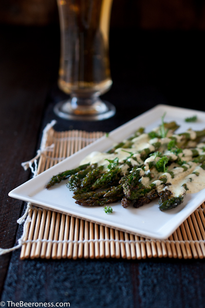 Roasted Asparagus with Beer Bearnaise - One of over 30 Amazing Asparagus Recipes to give you cooking inspiration this Spring! See the collection on A Family Feast