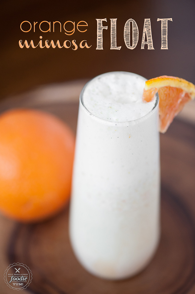 Orange Mimosa Float - One of over 30 beautiful brunch recipes for Mother's Day, or any special occasion! The collection includes main dishes, appetizers, drinks, and desserts. | A Family Feast