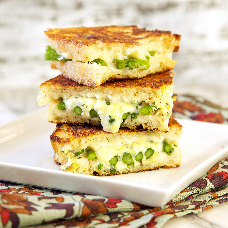 Roasted Asparagus Grilled Cheese Sandwich -  One of over 30 Amazing Asparagus Recipes to give you cooking inspiration this Spring! See the collection on A Family Feast