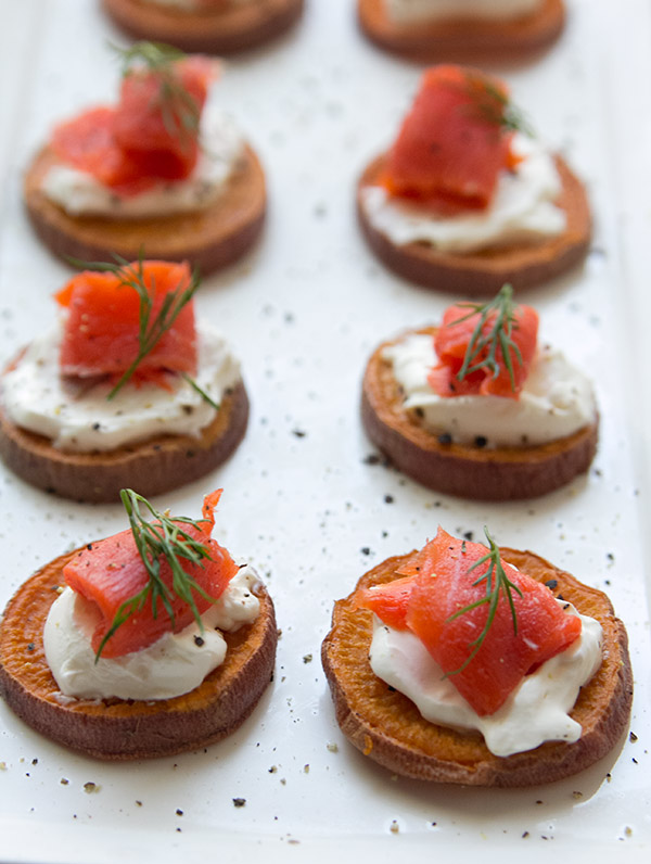 Smoked Salmon on Sweet Potatoes - One of over 30 beautiful brunch recipes for Mother's Day, or any special occasion! The collection includes main dishes, appetizers, drinks, and desserts. | A Family Feast