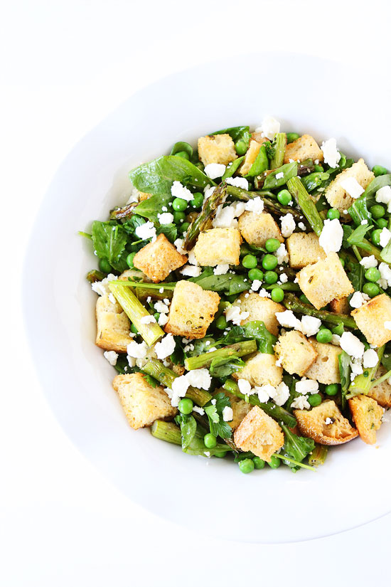 Spring Panzanella Salad - One of over 30 Amazing Asparagus Recipes to give you cooking inspiration this Spring! See the collection on A Family Feast