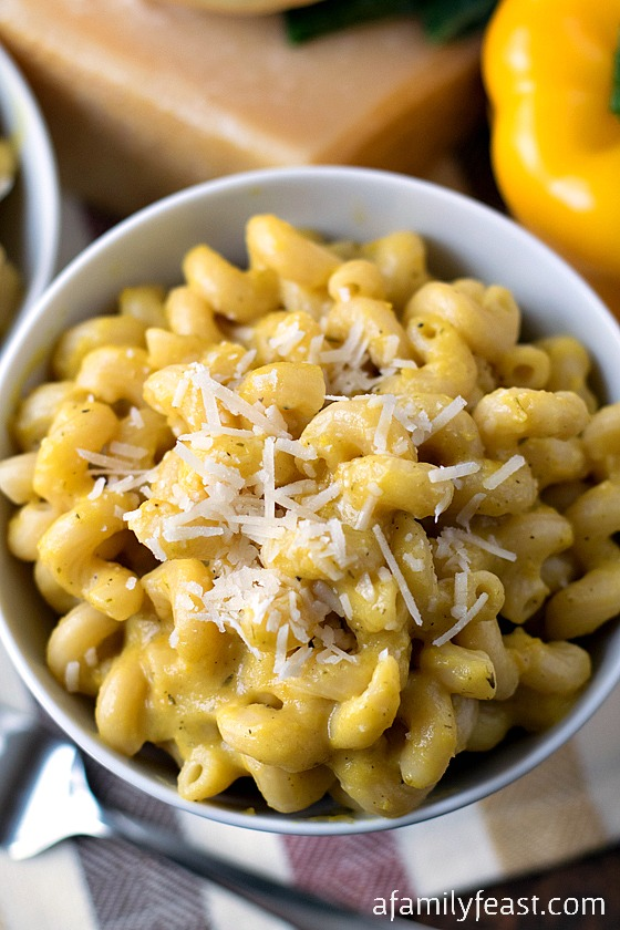 Pasta with Yellow Pepper Sauce - So rich and creamy, you'll never believe that this sauce is made without heavy cream!  Recipe from our honeymoon spent in Italy!